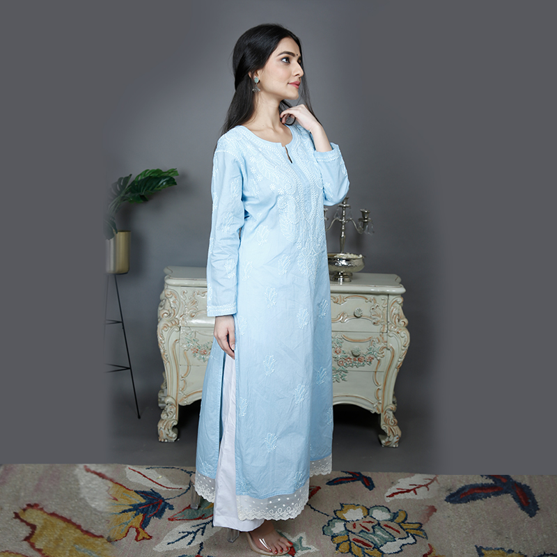 Blue chikankari cotton kurta