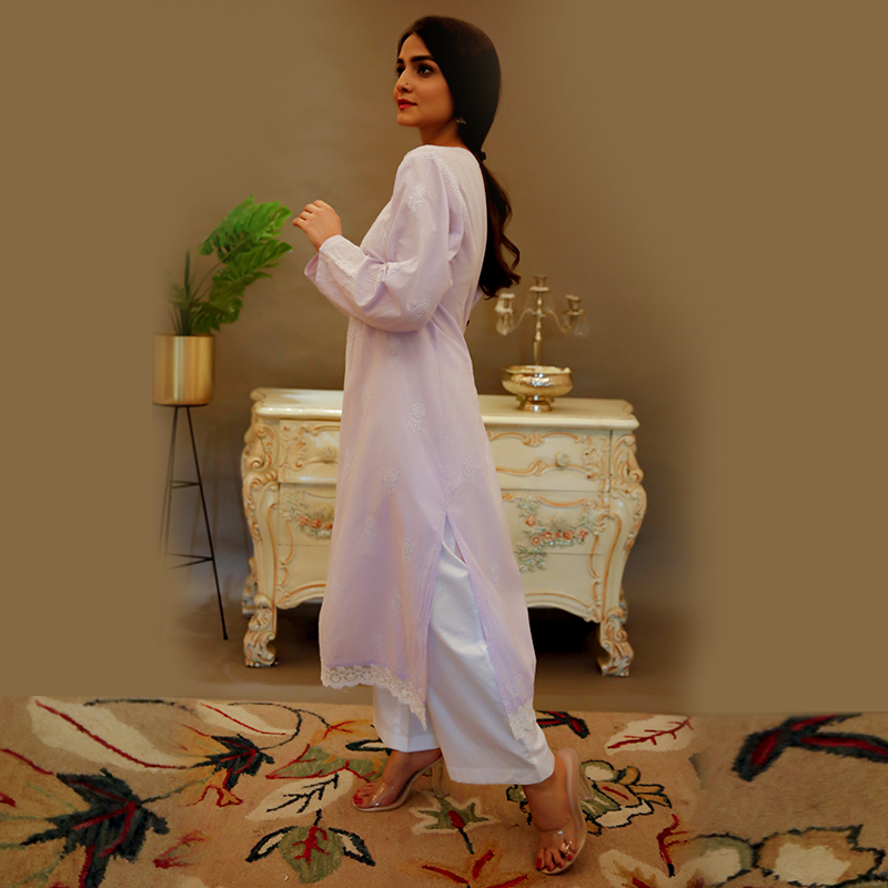Purple chikankari cotton kurta