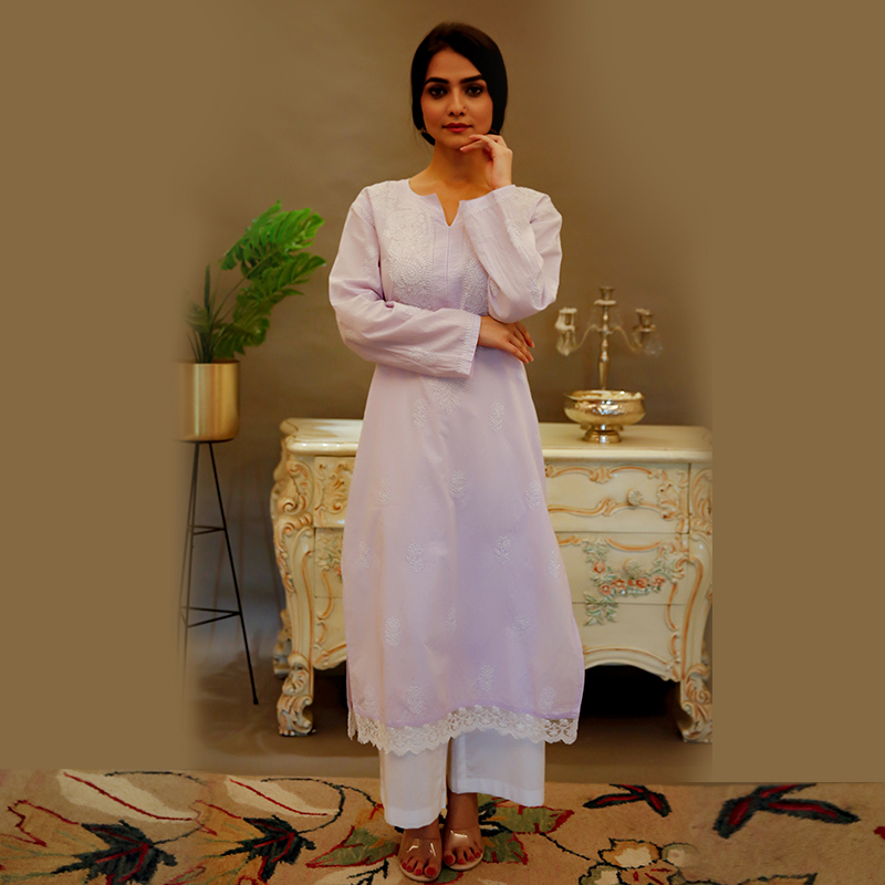 Purple chikankari cotton kurta with white pallazzo- Set of 2