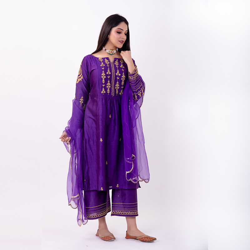 Purple hand embroidered chanderi silk kurta with silk palazzo- Set of 2
