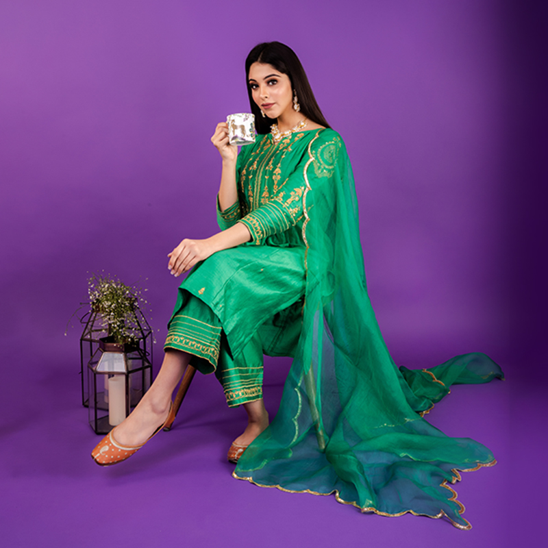 Green hand embroidered chanderi silk kurta with silk palazzo - Set of 2