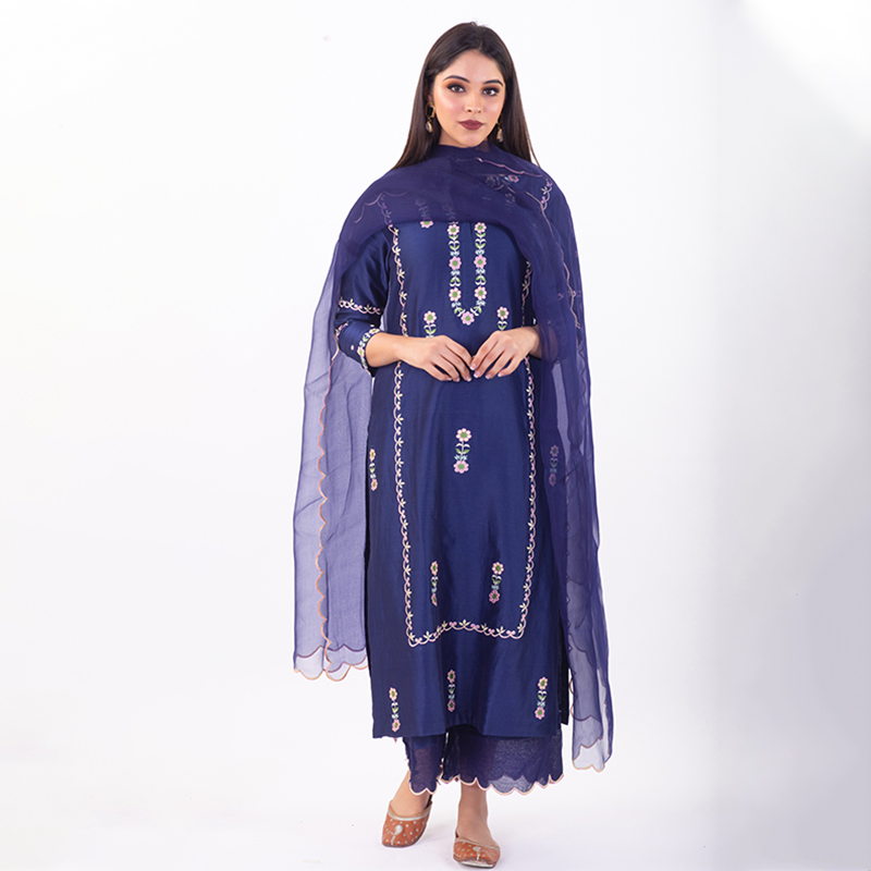 Blue embroidered chanderi silk kurta with silk palazzo - Set of 2
