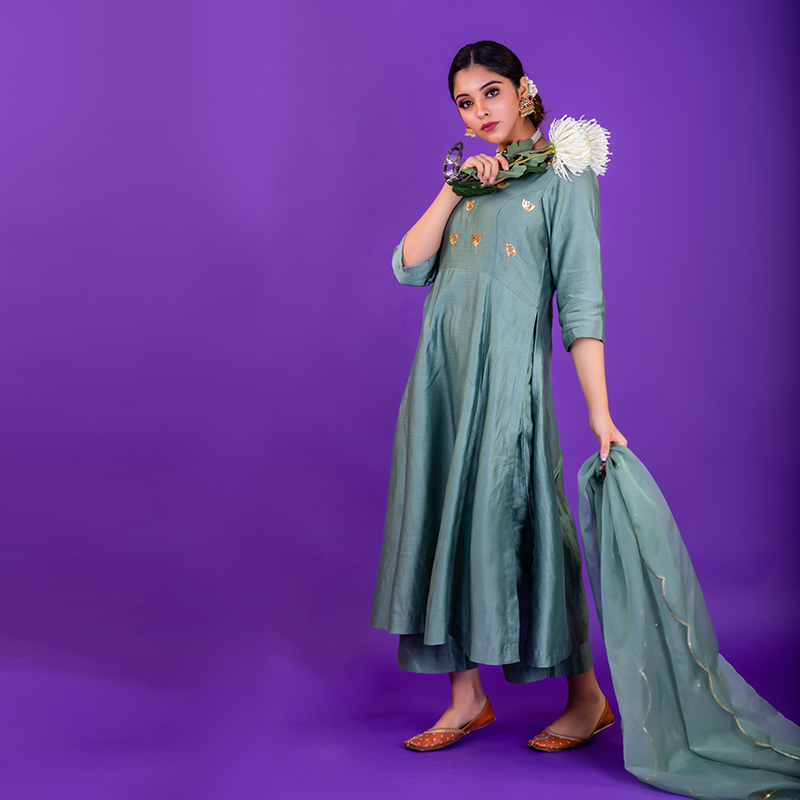 Sea Green hand embroidered chanderi silk kurta with silk palazzo - Set of 2