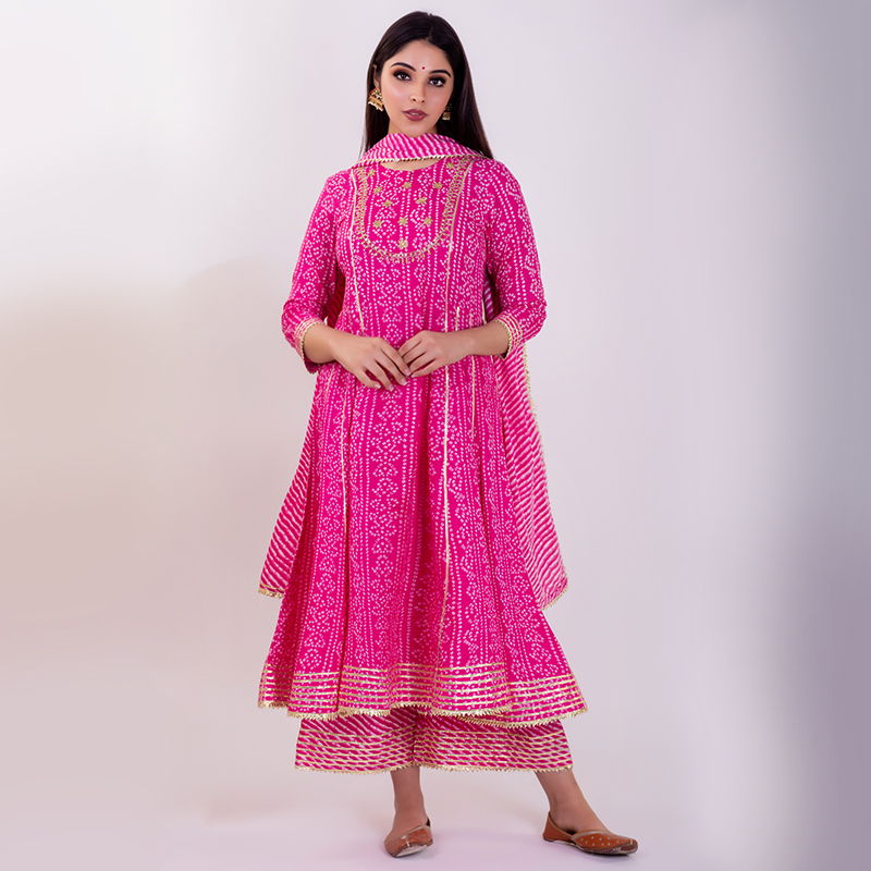Pink hand embroidered bandhani cotton anarkali with pallazzo- Set of 2