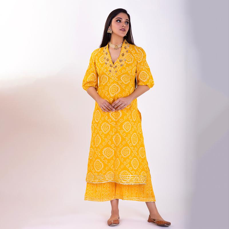 Yellow hand embroidered bandhani cotton Kurta