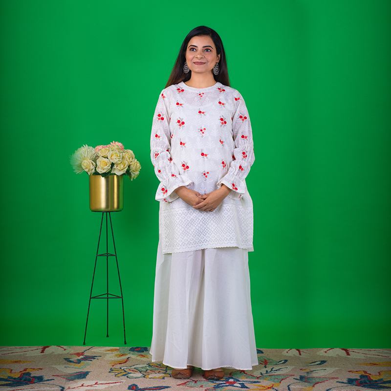 Floral Printed White Short Kurta with White Palazzos- Set of 2