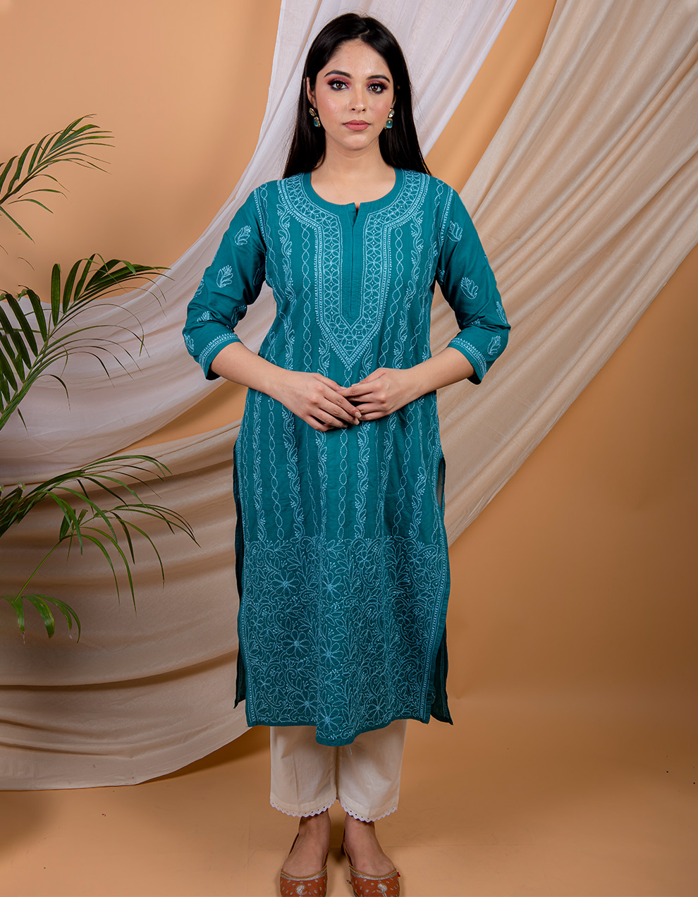 Buy best cotton kurta with white pants designs in India