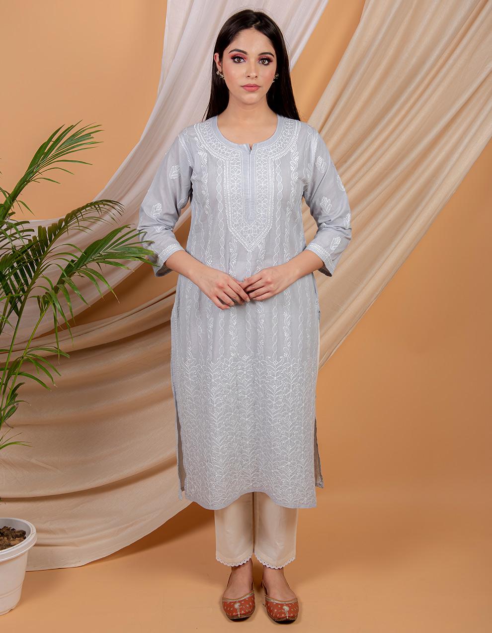 Fiza Grey chikankari cotton kurta with white pants- Set of 2