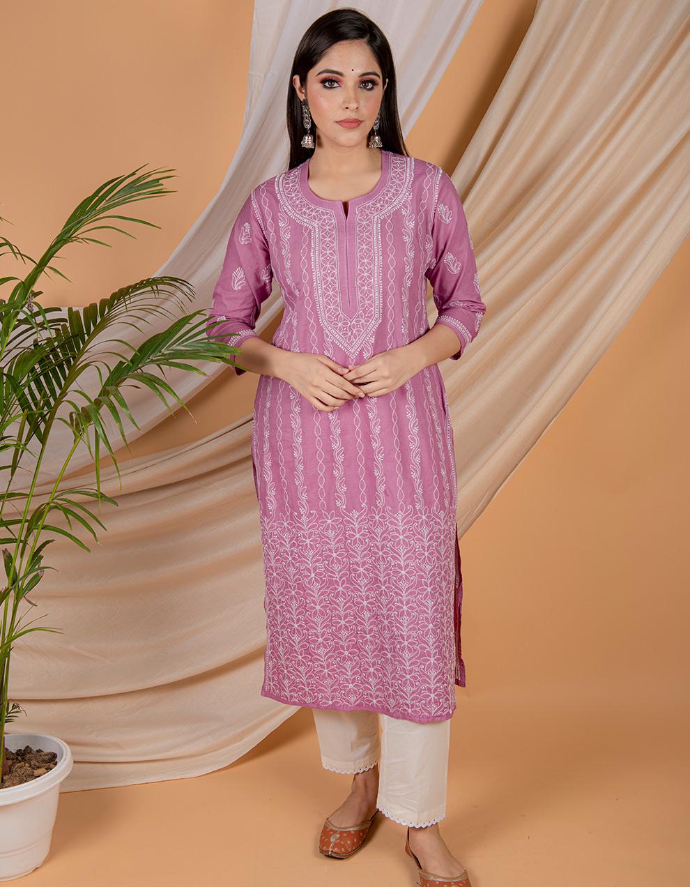 Buy the best quality Fiza Purple chikankari cotton kurta designs in India