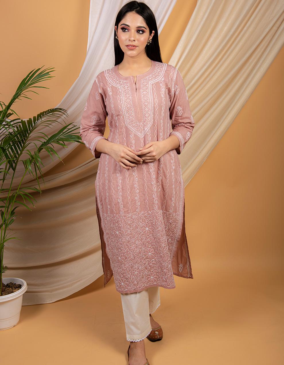 Fiza Dusty pink chikankari cotton kurta