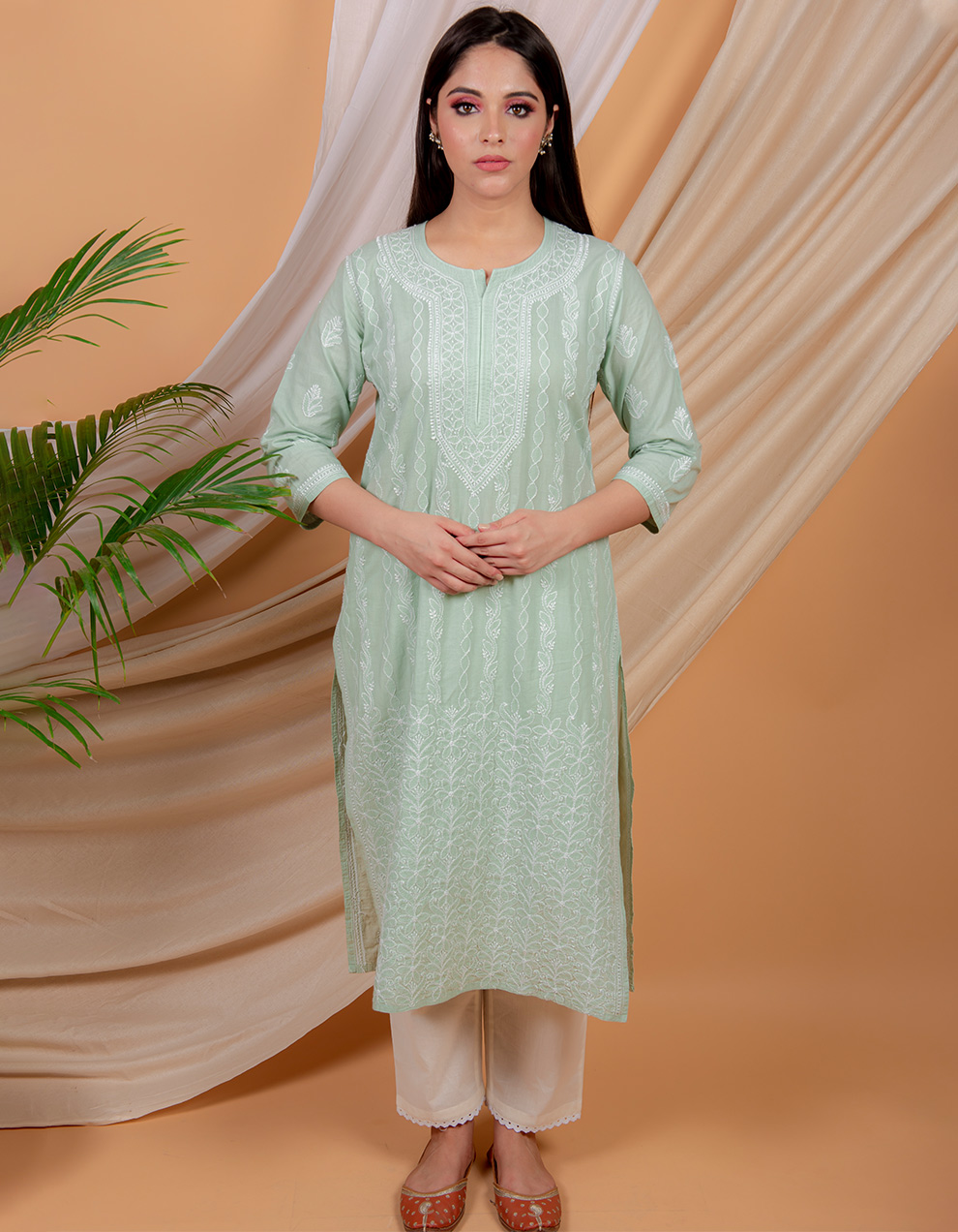 Fiza Light green chikankari cotton kurta with white pants- set of 2