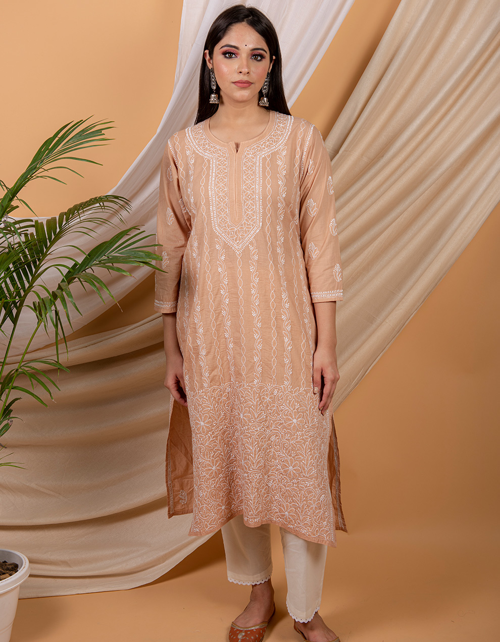 Fiza Brown chikankari cotton kurta with white pants- Set of 2