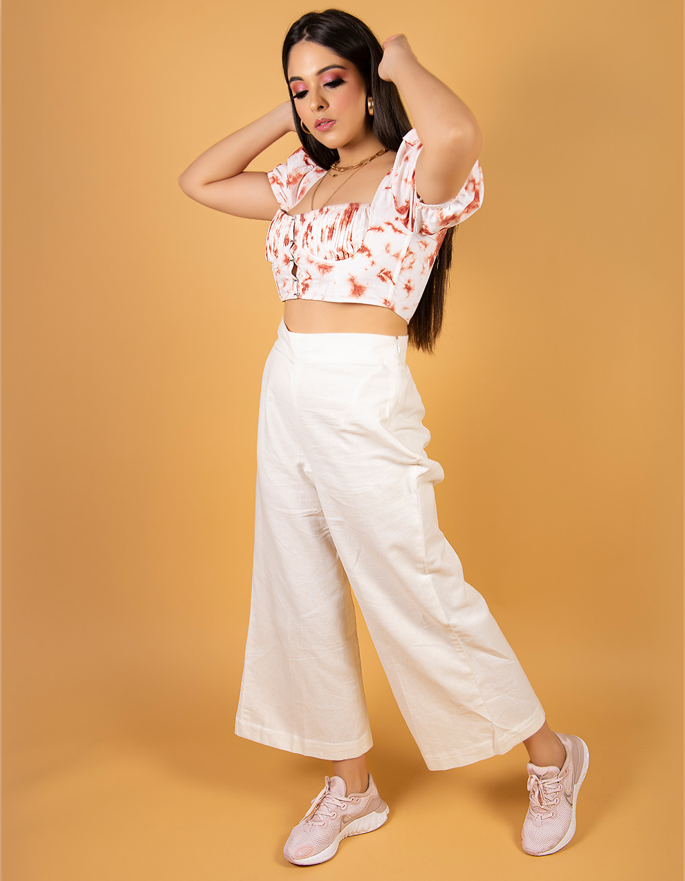 Rust Crop top with white high waist pant