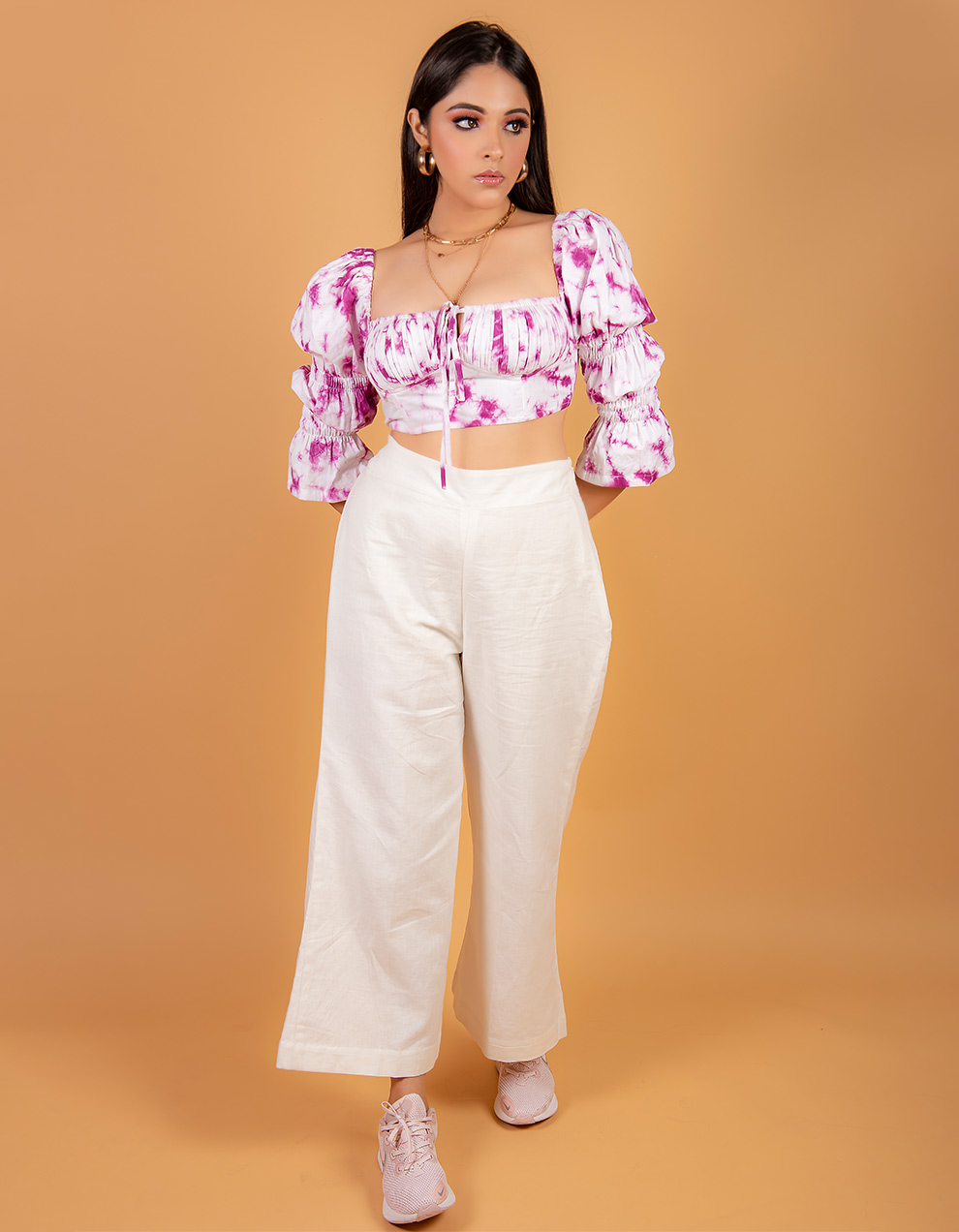 Purple Crop top with white high waist pant