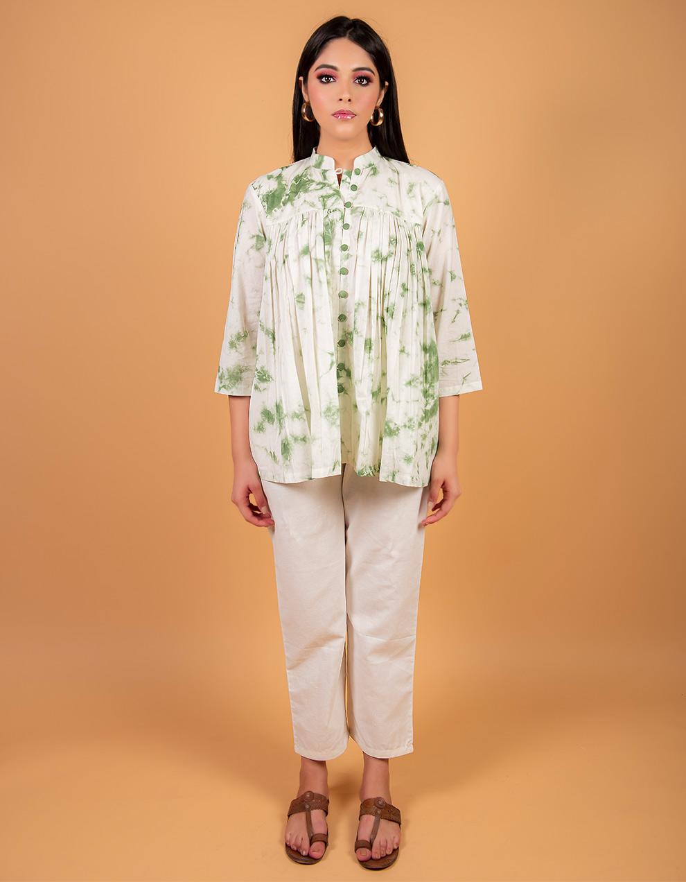 Green cotton Kurta with white cotton pant
