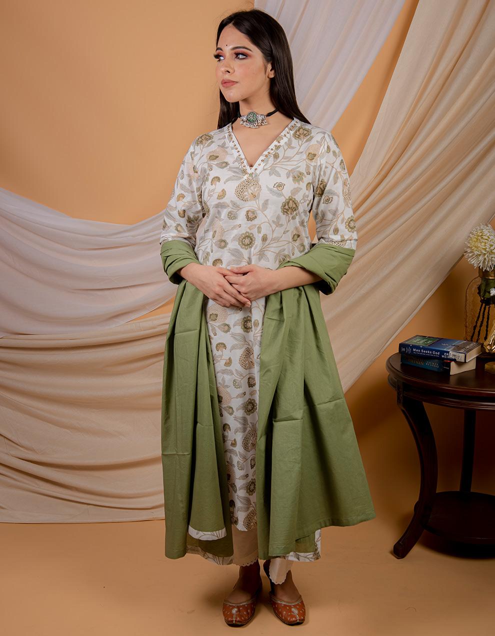 Green cotton printed pintuck kurta with pants and dupatta - Set of 3