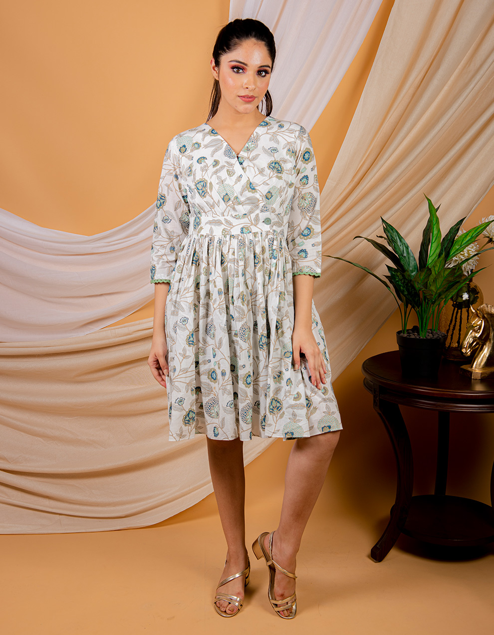 White floral printed cotton dress
