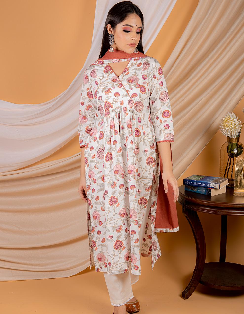 crimson red cotton dupatta designs for women