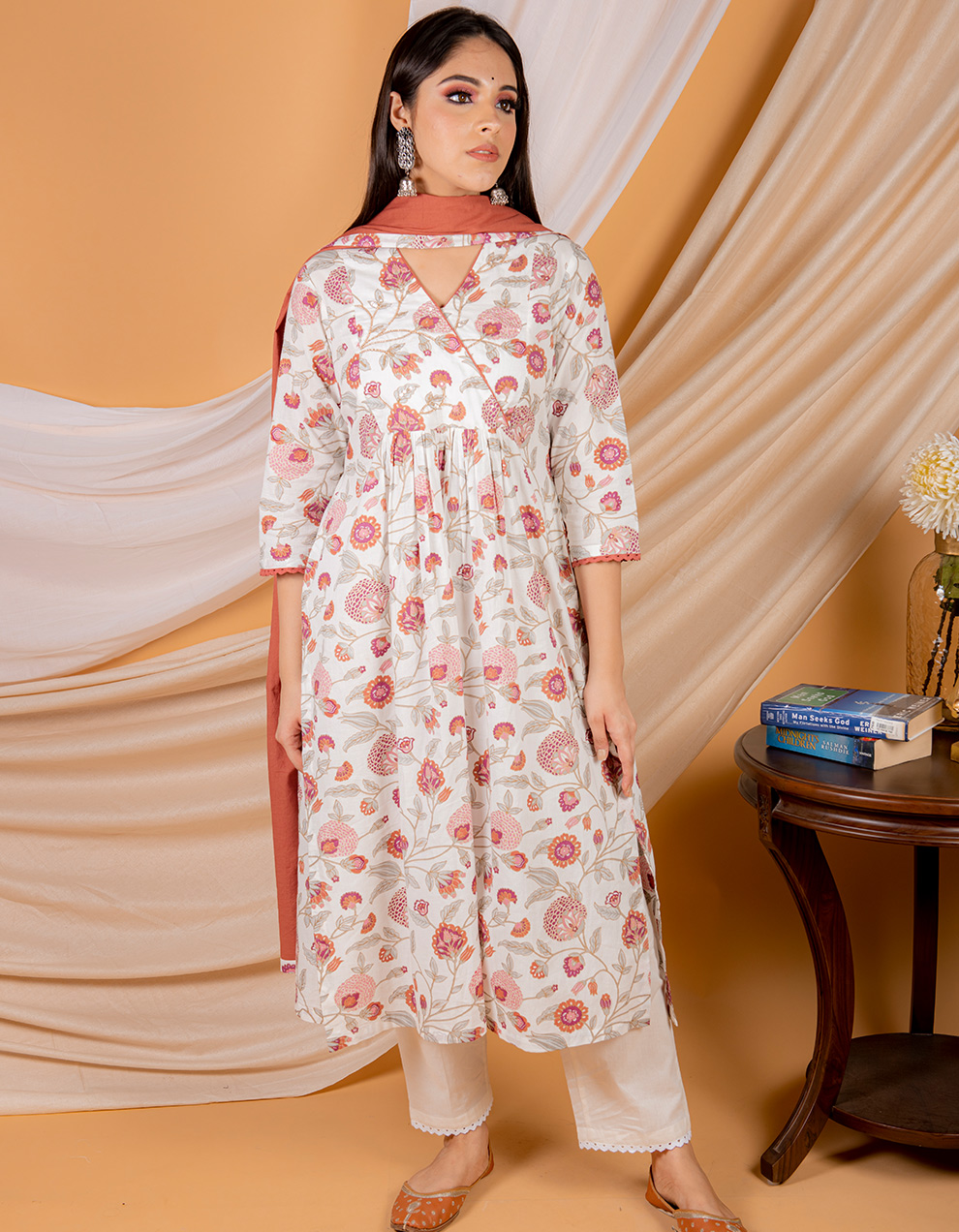Buy best red cotton printed kurta with pants and dupatta designs