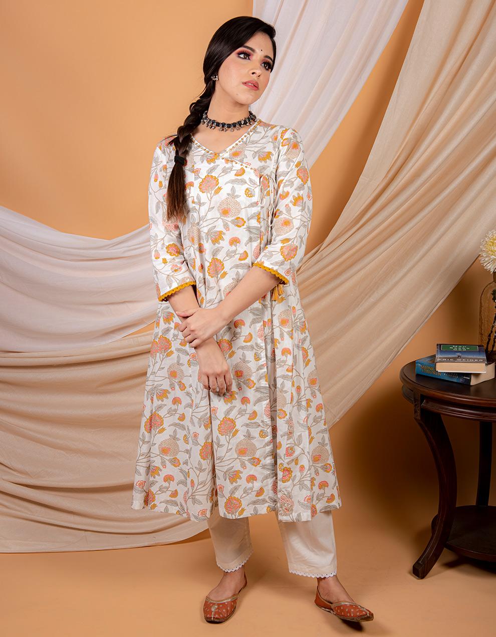 Yellow printed angrakha kurta with pants - Set of 2