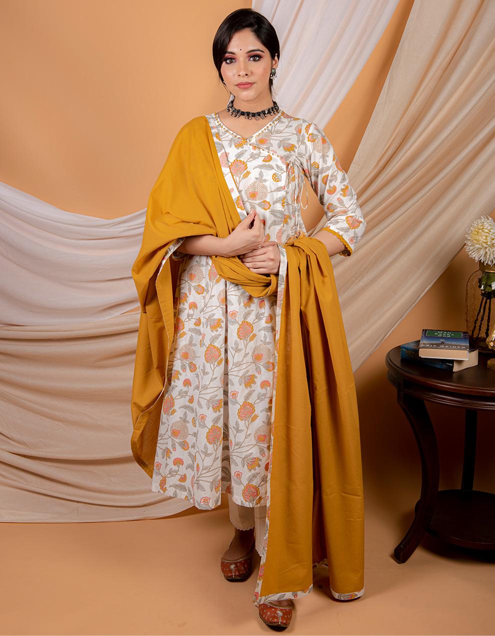 Yellow printed angrakha kurta with pants and dupatta- set of 3