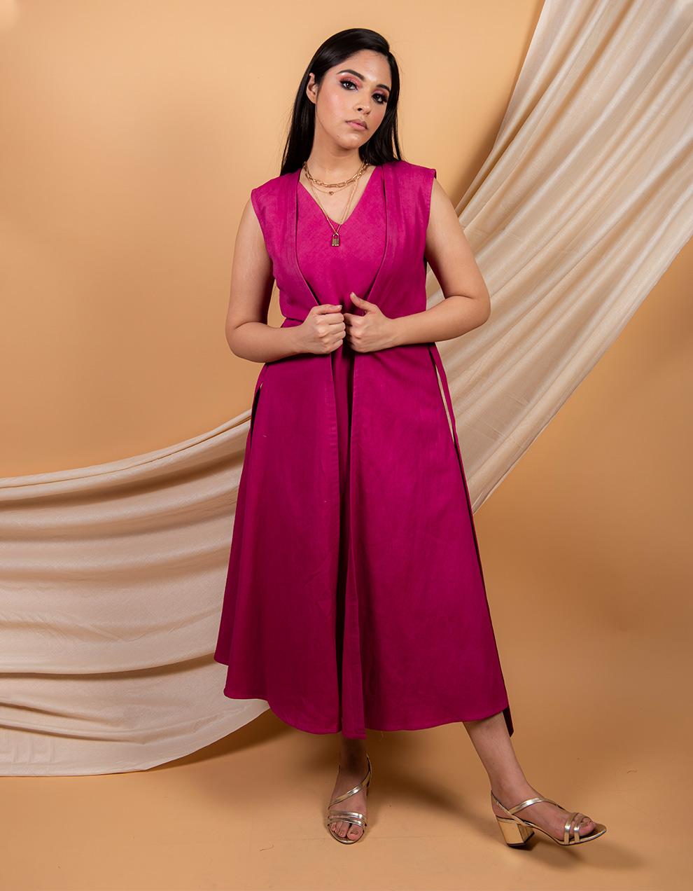 Magenta cotton linen dress and cape -  set of 2