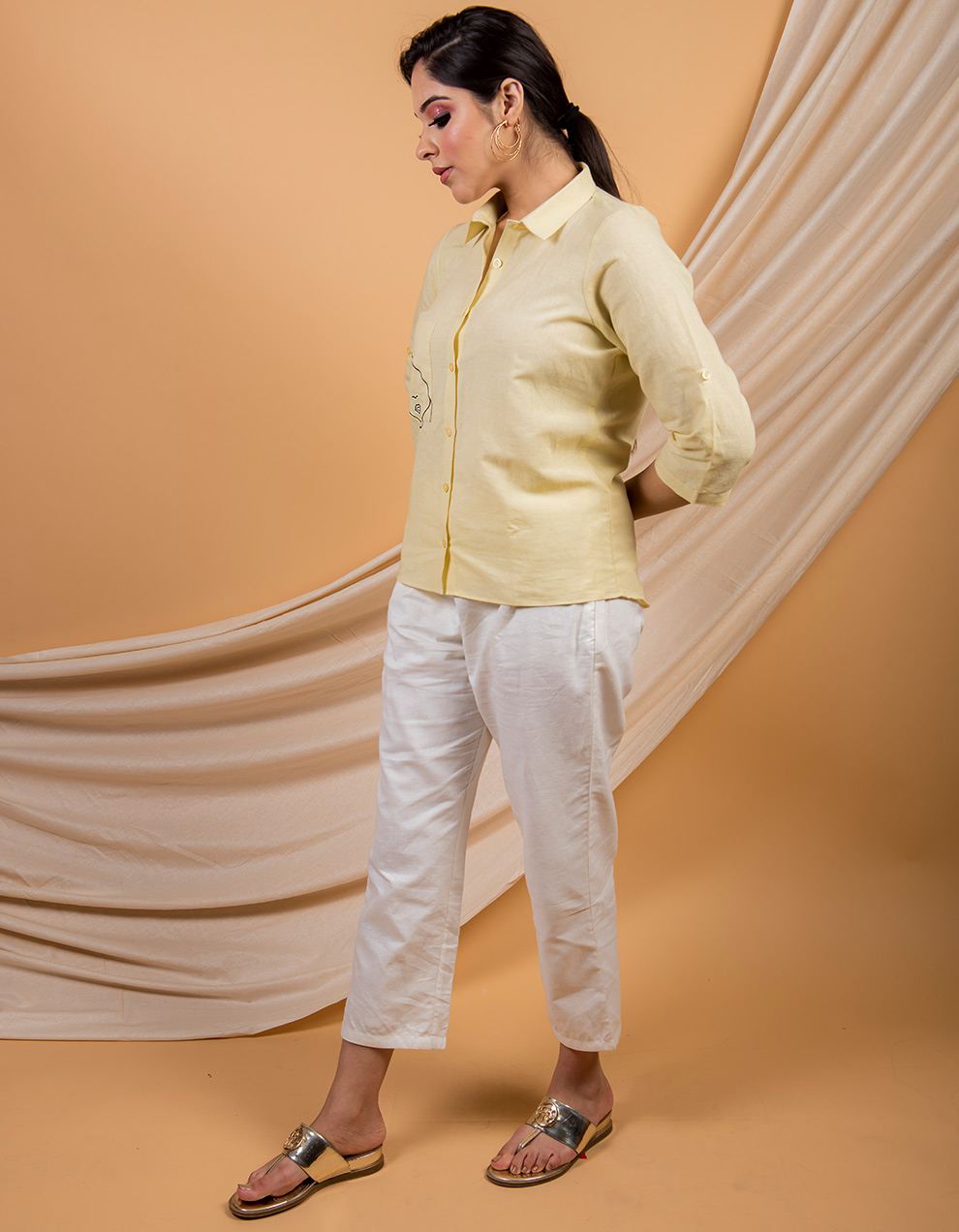 Yellow cotton linen shirt with white pant - set of 2