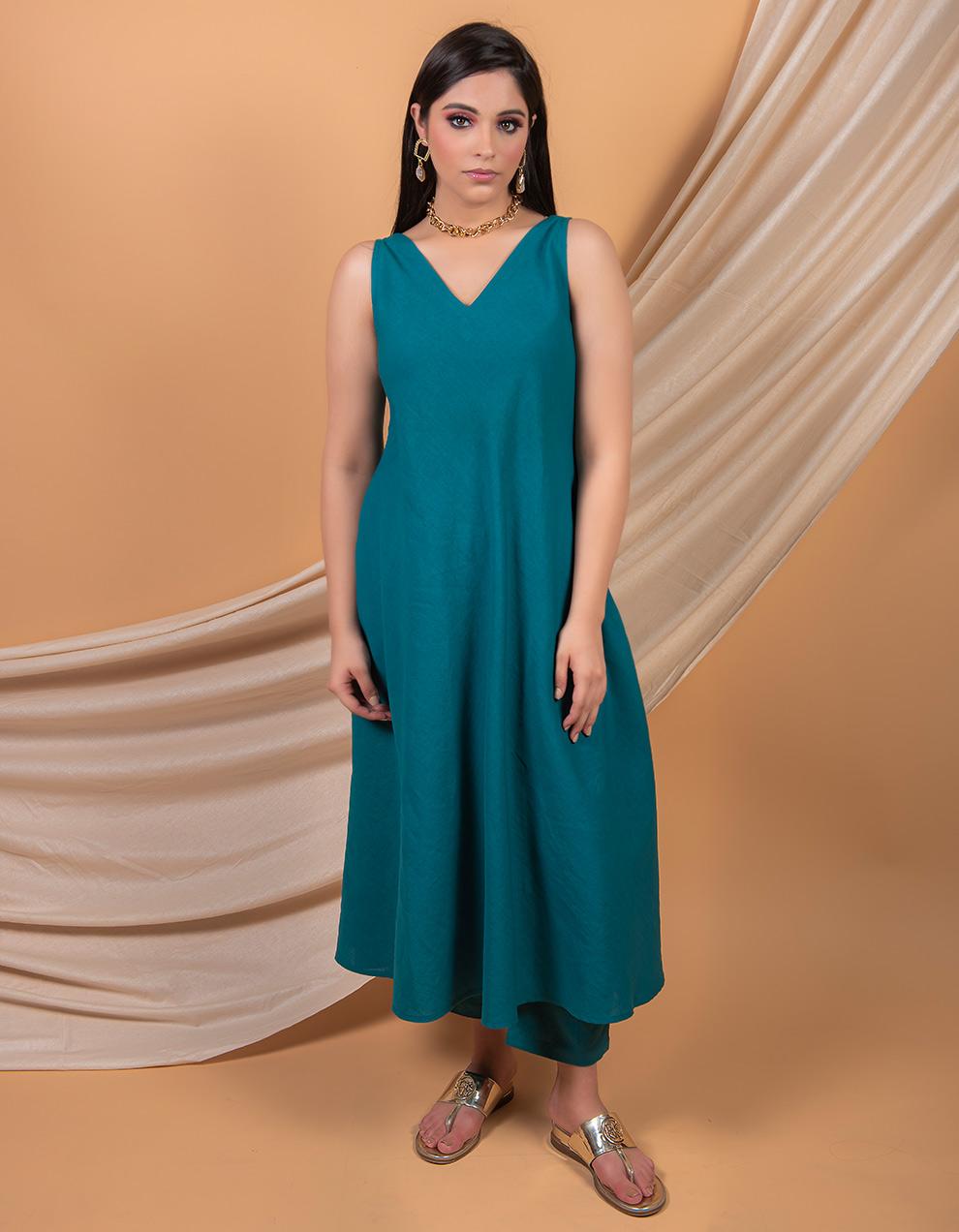 Teal Blue cotton linen A-line dress  and pant - Set of 2