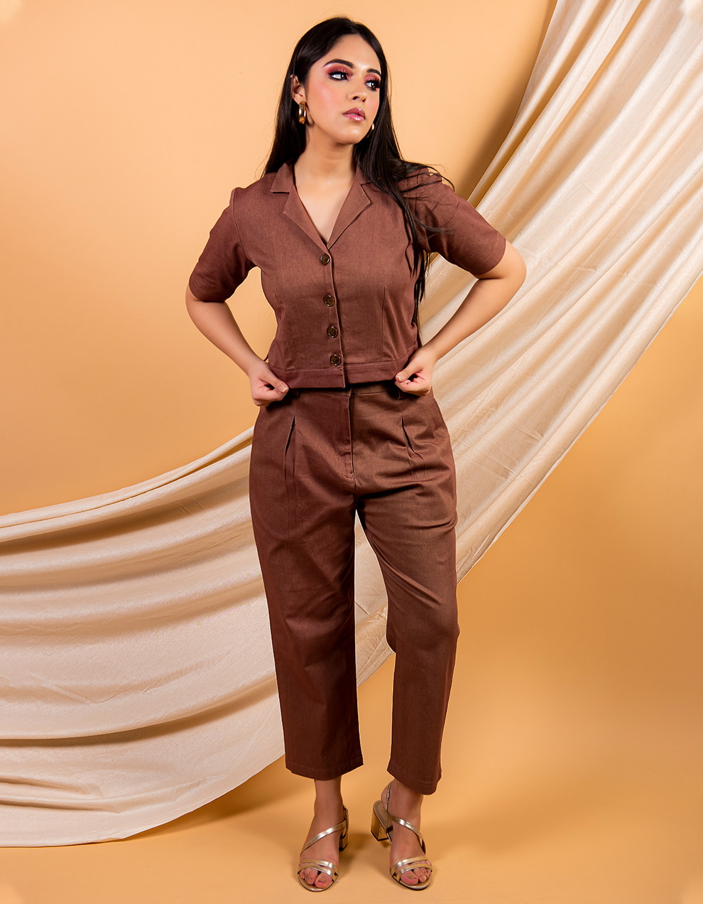 Brown crop cotton twill shirt and pant - set of 2
