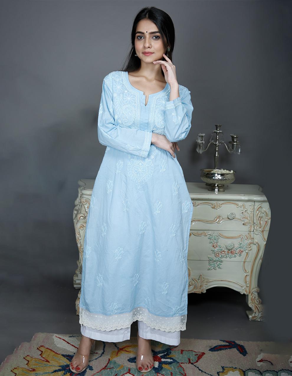 Blue chikankari cotton kurta with white pallazzo- Set of 2