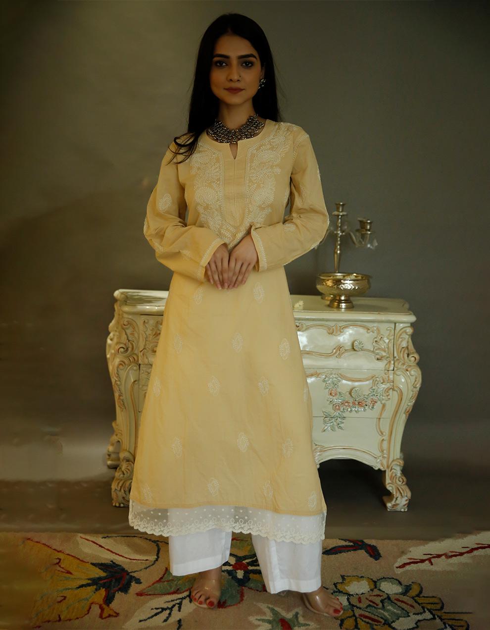 Beige chikankari cotton kurta with white palazzo- set of 2