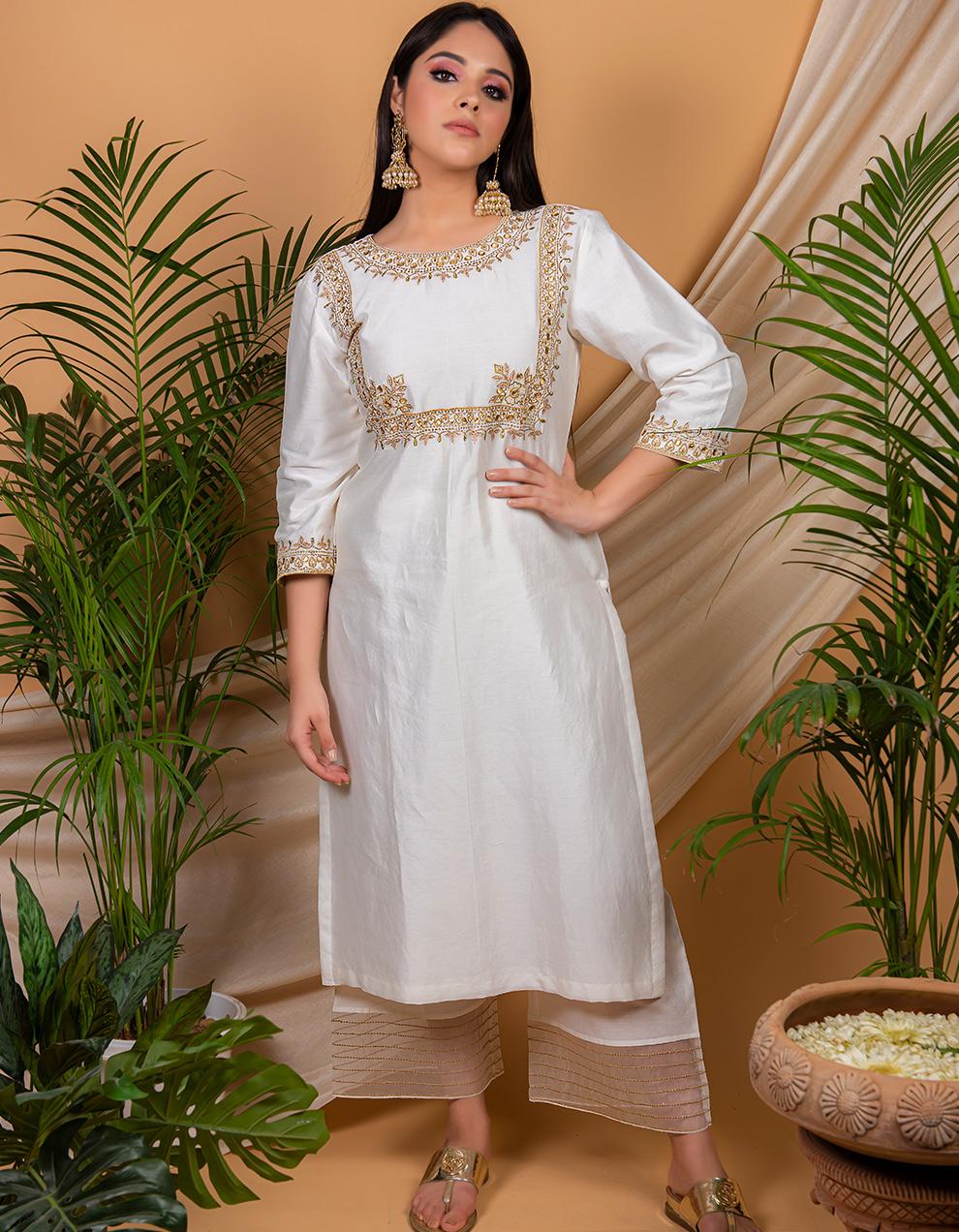 White chanderi silk palazzo