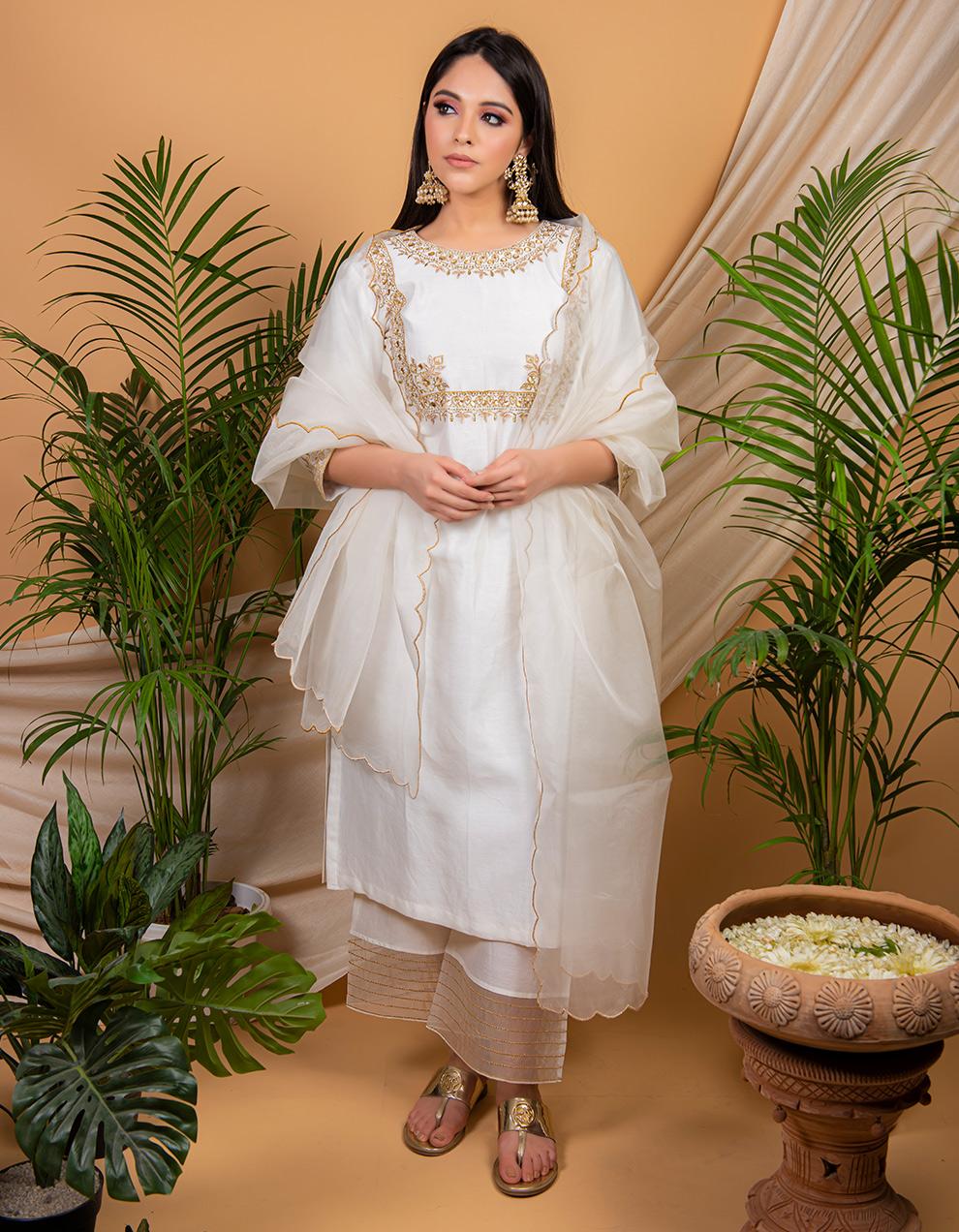 White hand chanderi silk kurta with silk pallazzo and organza dupatta- Set of 3