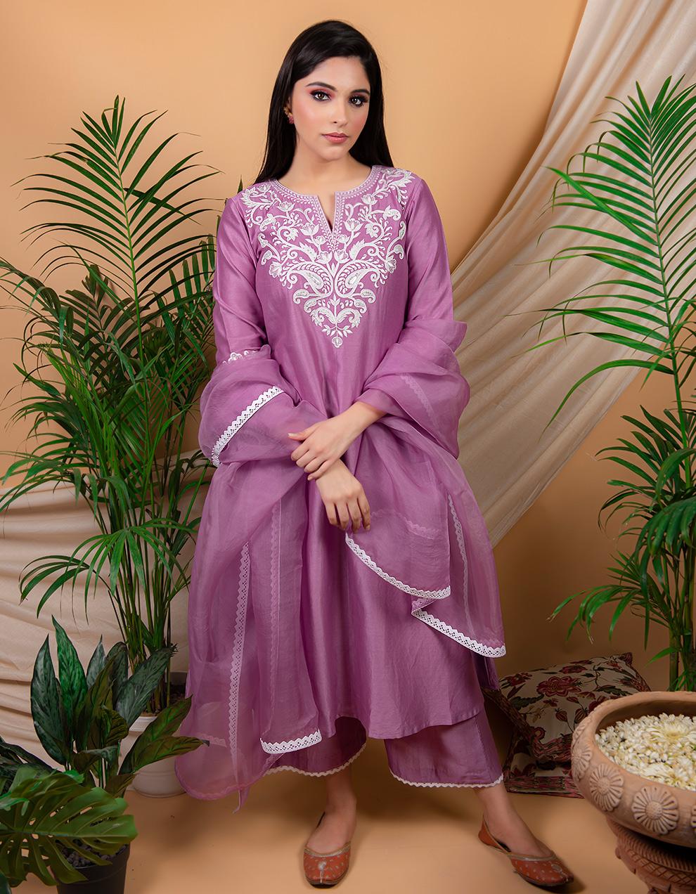 Purple  embroidered chanderi silk kurta with silk palazzo and organza dupatta- Set of 3