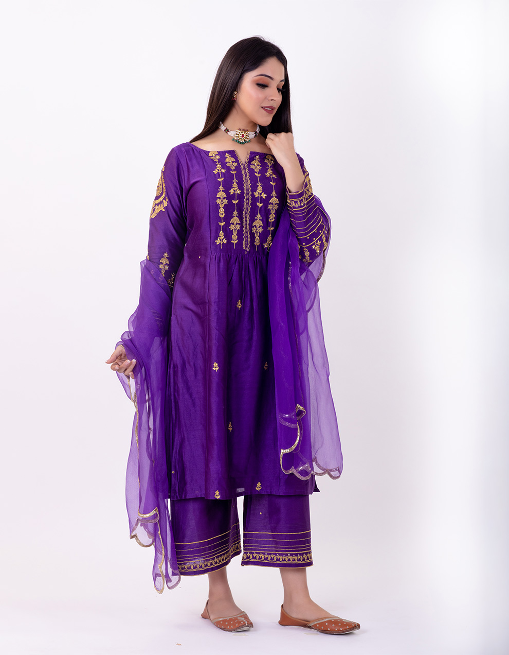 Purple hand embroidered chanderi silk kurta with silk palazzo- Set of 2