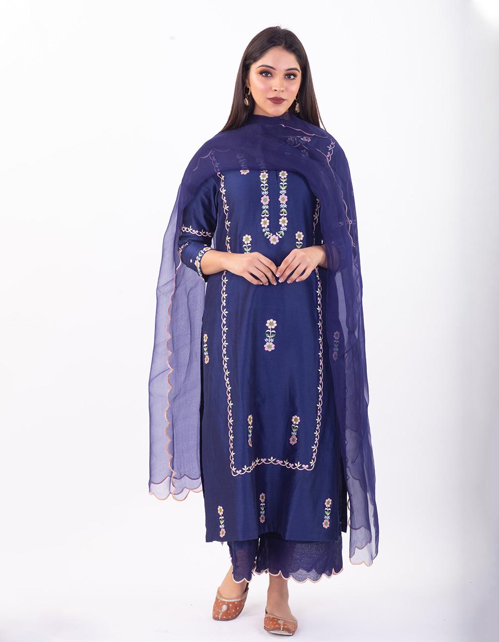 Blue embroidered chanderi silk kurta with silk pallazzo and organza dupatta- Set of 3