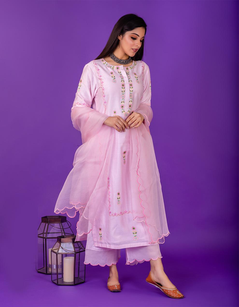 Pink embroidered chanderi silk kurta with silk pallazzo and organza dupatta- Set of 3