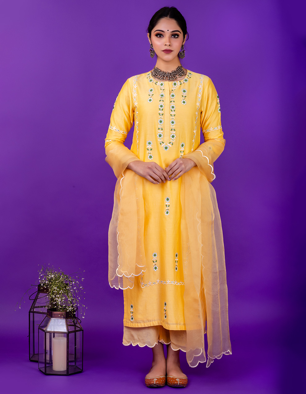 Yellow embroidered chanderi silk kurta with silk pallazzo and organza dupatta- Set of 3