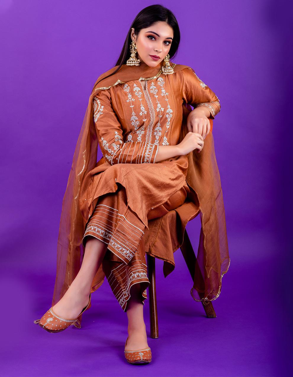Brown embroidered chanderi silk Pants