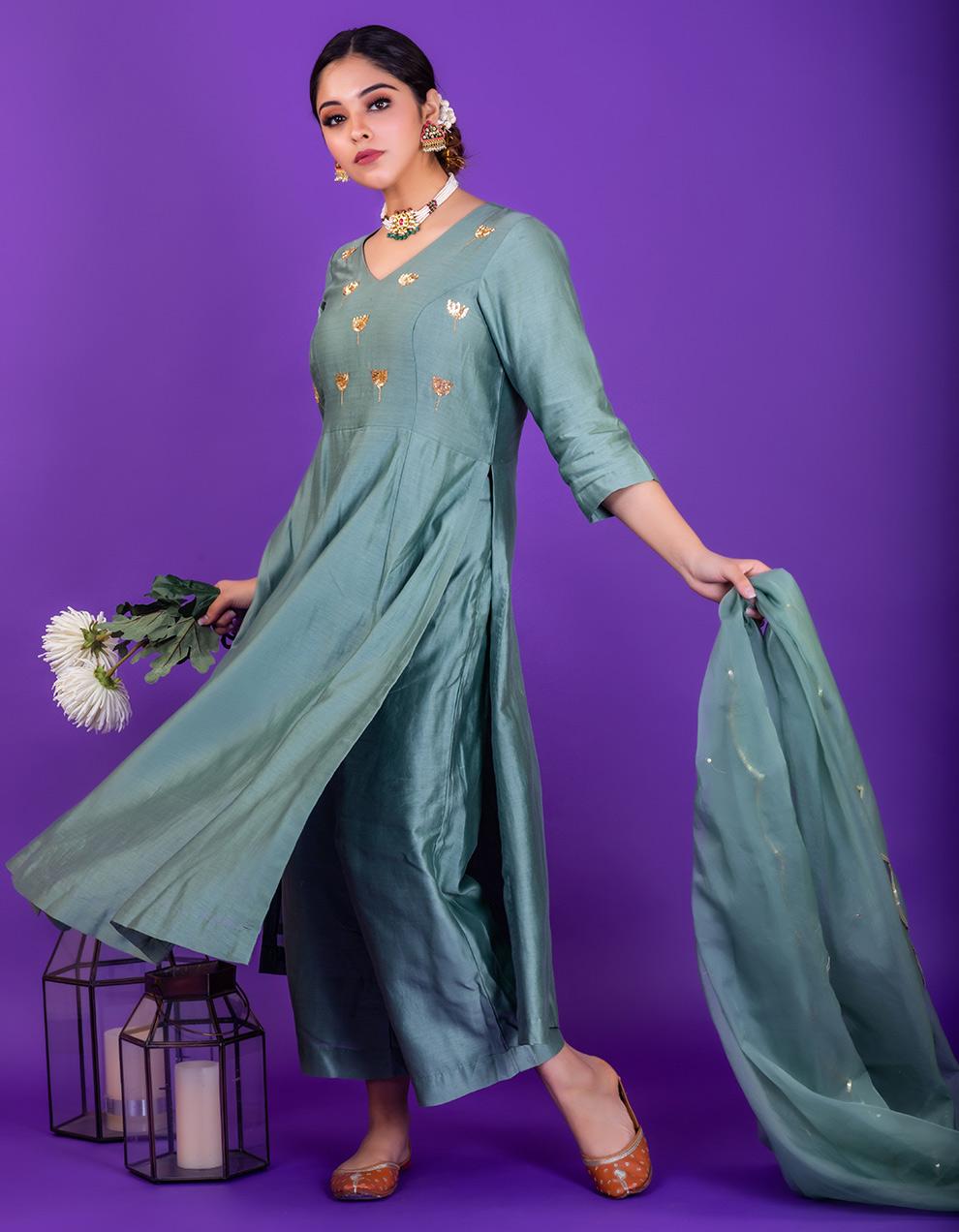 Sea Green embroidered chanderi silk Pants