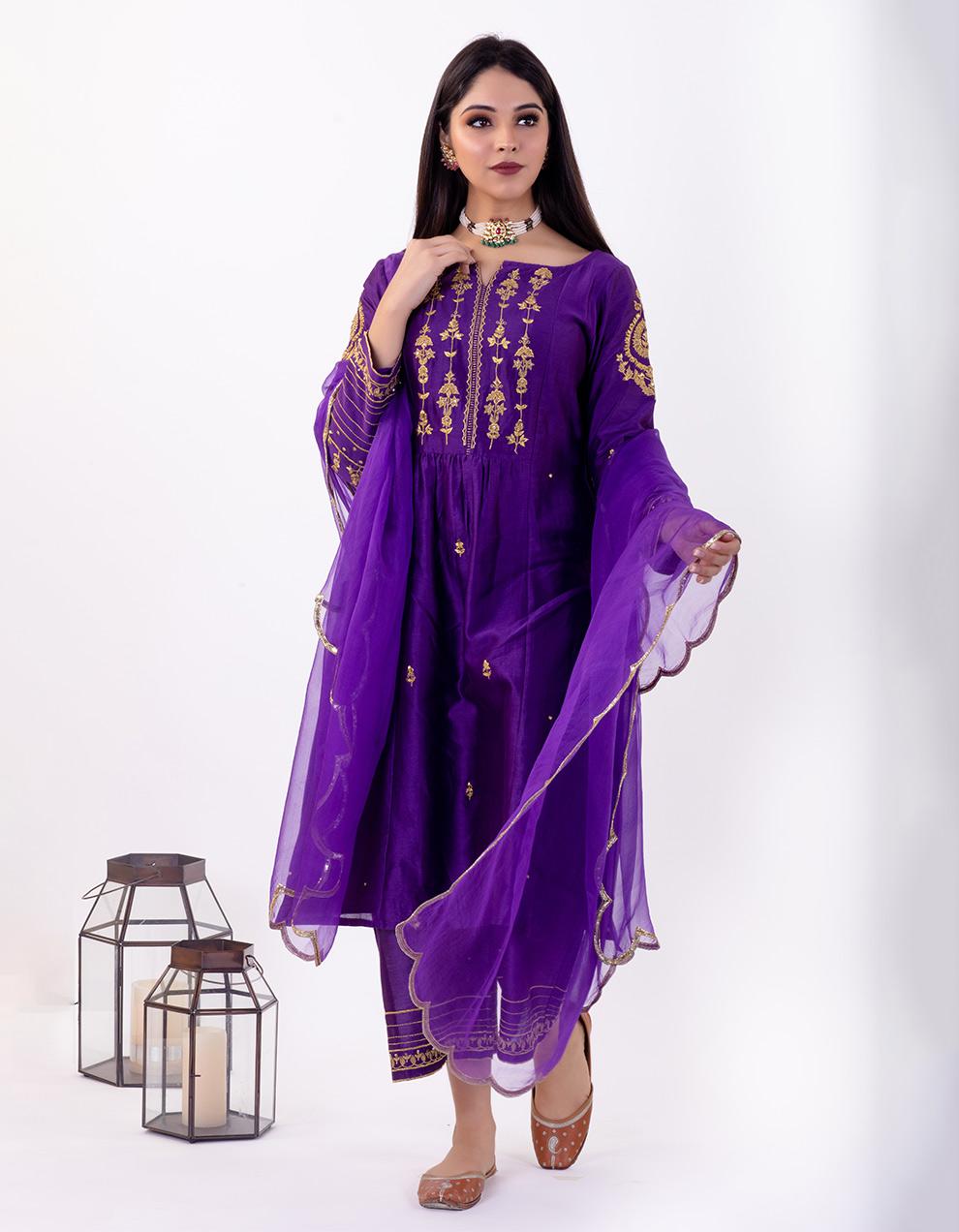Purple hand embroidered chanderi silk kurta with silk pallazzo and organza dupatta- Set of 3