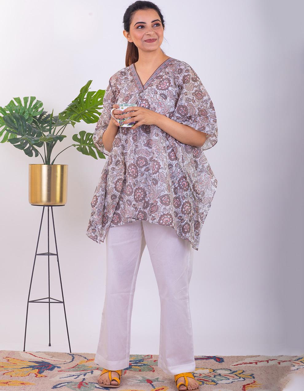 Brown printed mul cotton short Kaftan with pants - Set of 2