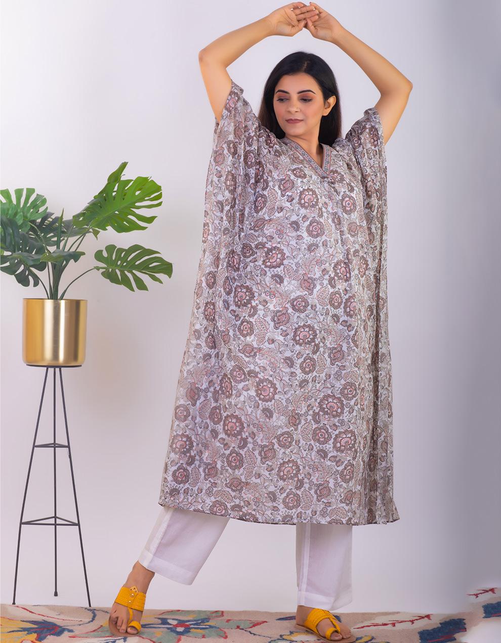 Brown printed mul cotton Kaftan