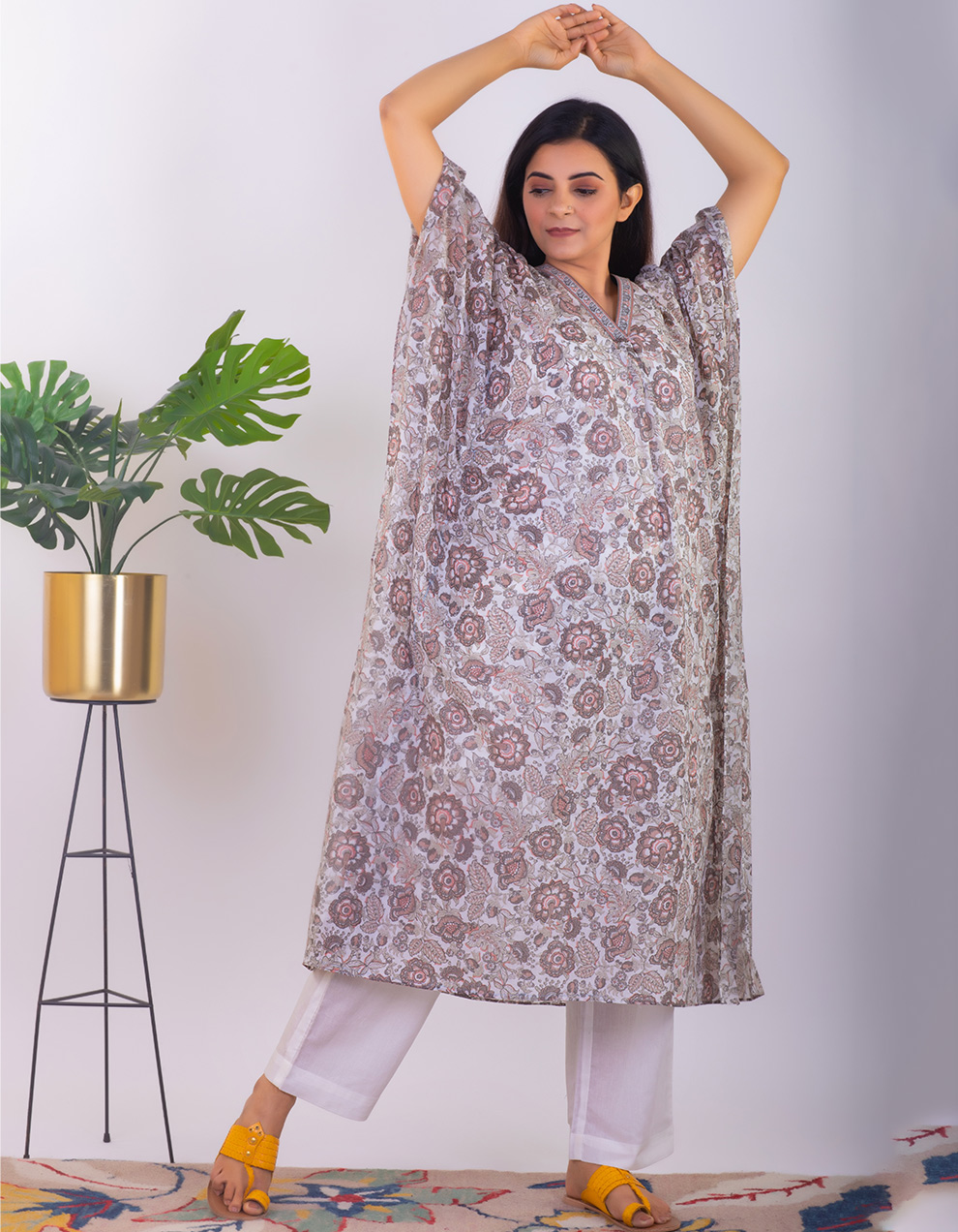 Brown printed mul cotton Kaftan with pants - Set of 2
