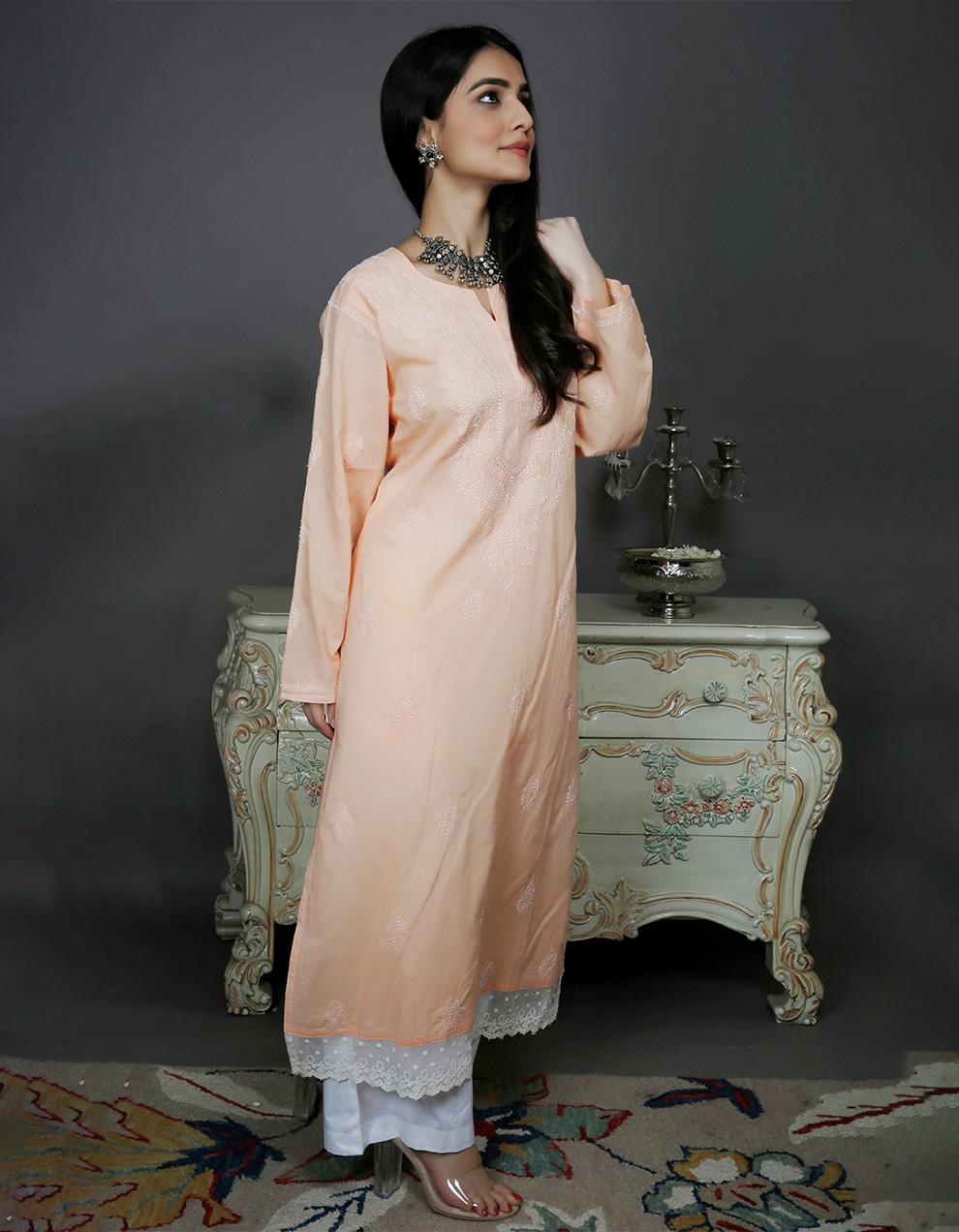 Peach chikankari cotton kurta