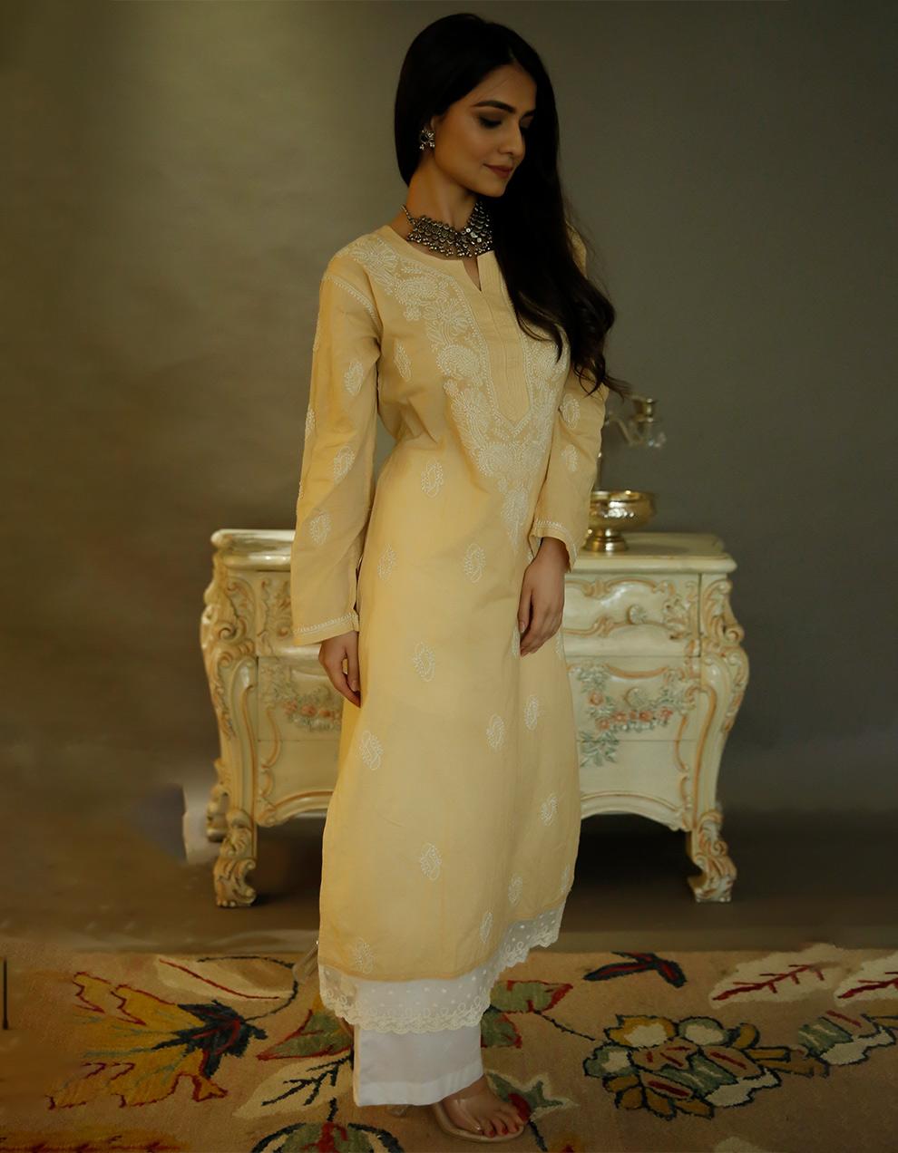 Beige chikankari cotton kurta