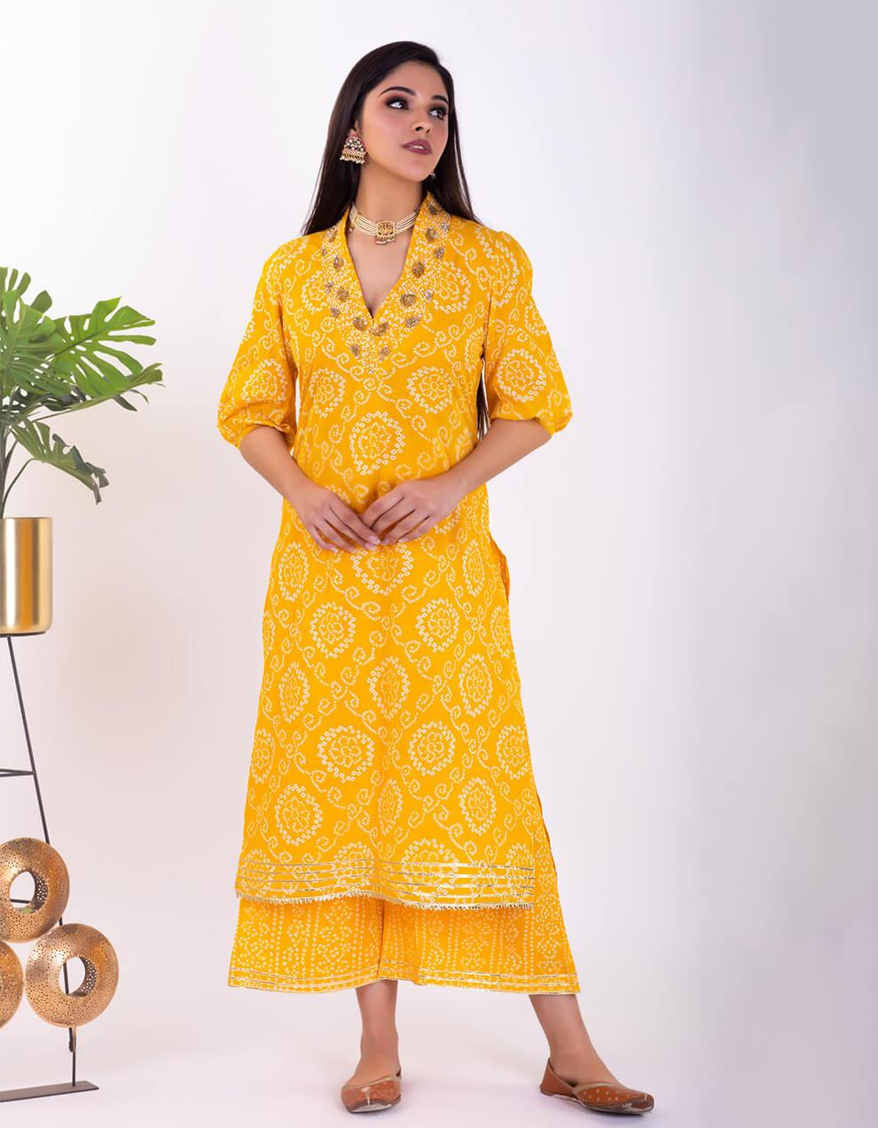 Best yellow bandhani cotton kurta designs