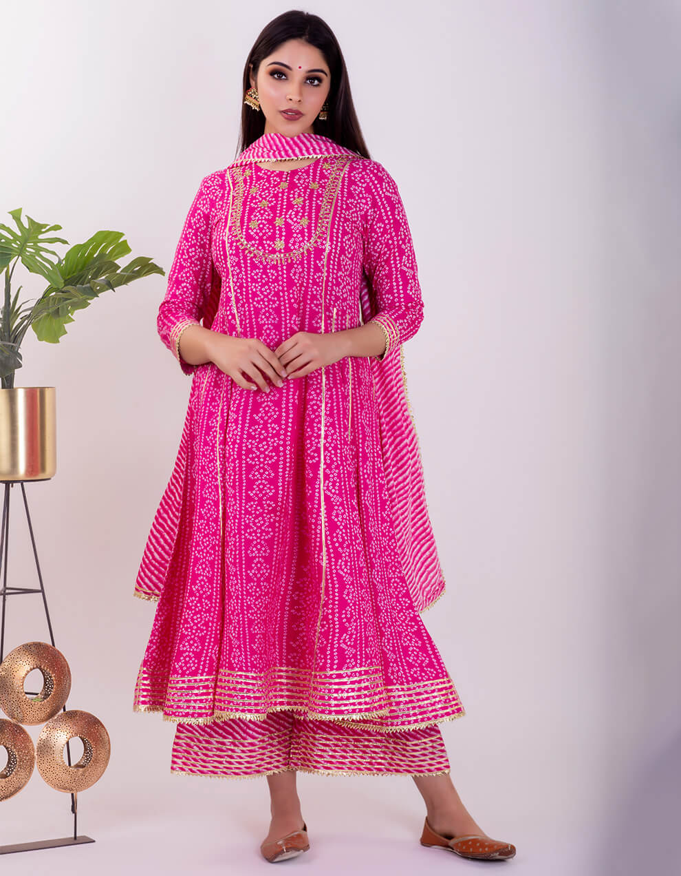 Best pink cotton Anarkali with palazzo designs
