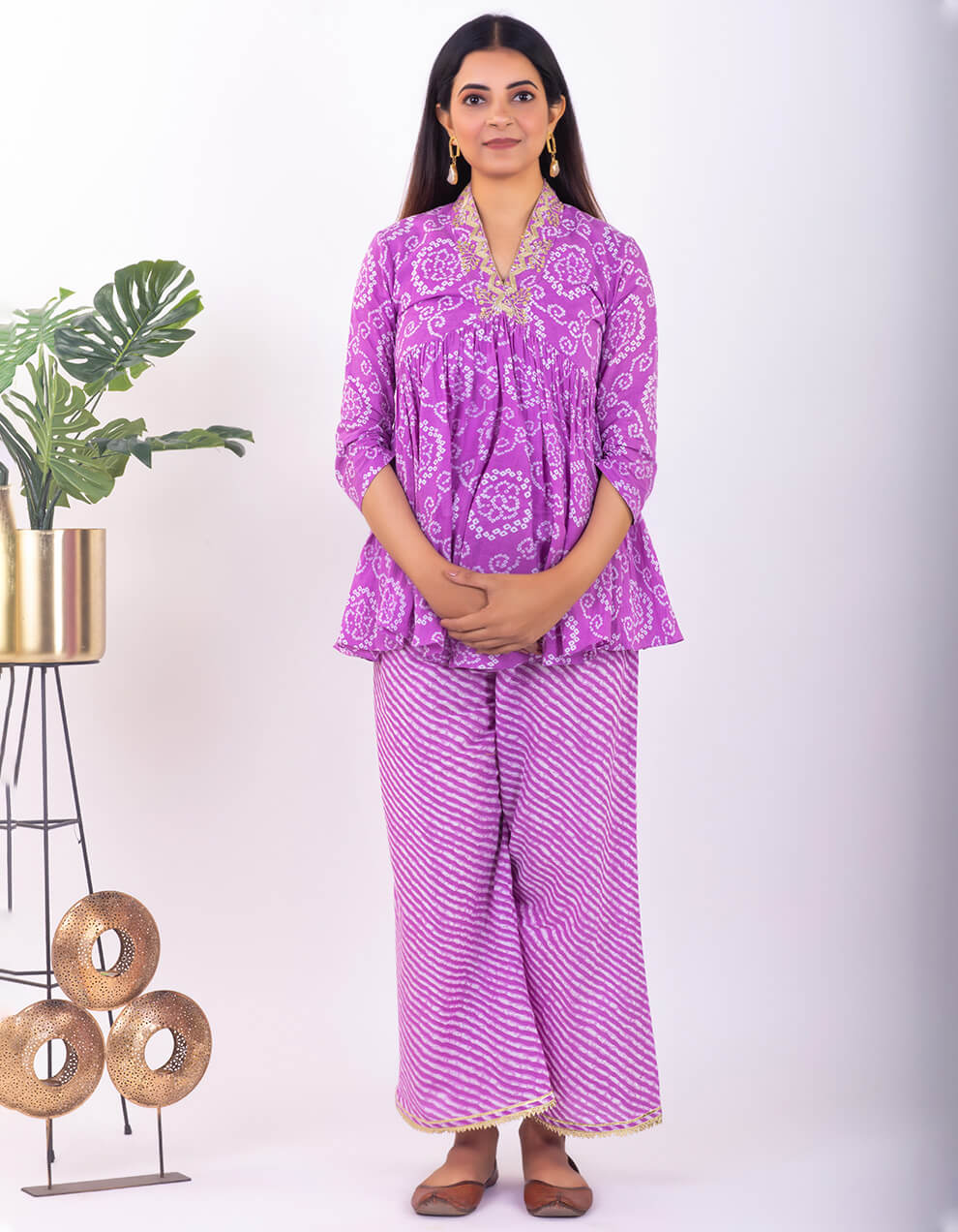Multicolored cotton short kurta with pants designers in India