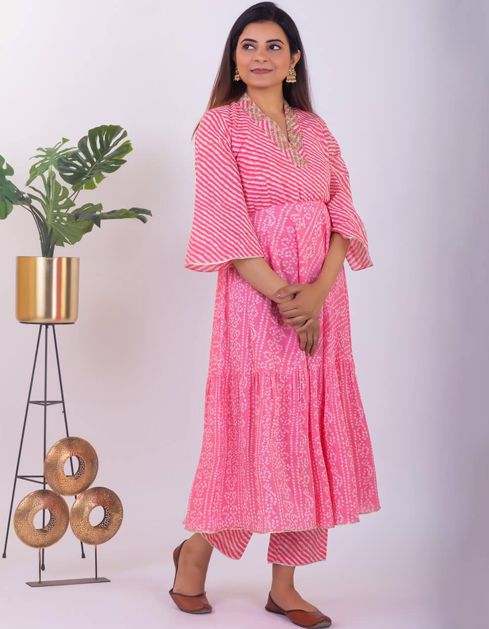 Light Pink hand embroidered tiered bandhani cotton kurta with palazzo and dupatta - Set of 3